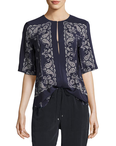 Antazie Bandana Paisley Silk Top, Navy Blue