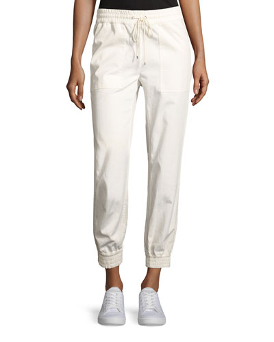 Cortland Relaxed Cotton Jogger Pants, Ivory