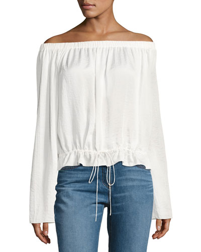 Odettah Off-the-Shoulder Crepe Top, White