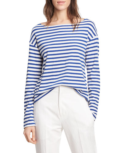 Striped Long Sleeve Boat Neck Tee, VanillaCobalt