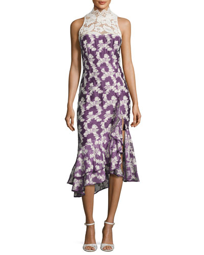 Dream Chaser Floral Asymmetric Cocktail Dress, Mulberry