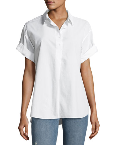 Tuck-In Roll-Sleeve Cotton Shirt, White