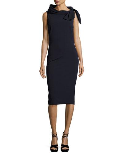 Sleeveless Tie-Neck Cocktail Dress
