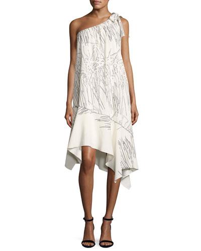 One-Shoulder Flowy Printed Shift Dress