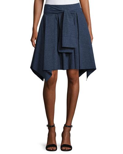 Mini Flounce Skirt w/ Sash, Dark Denim