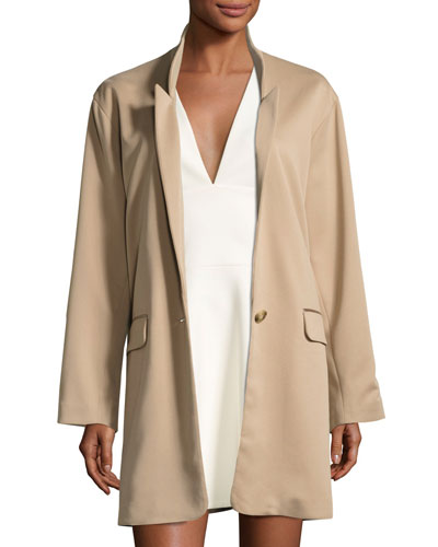 Long Slim Single-Breasted Jacket, Camel
