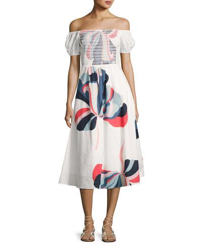 Zanna Floral Ribbon Dress, White Pattern