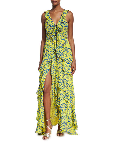 Textured Stripe Ikat Printed Maxi Dress, Yellow Pattern