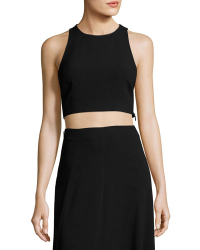 Nikayla Crepe Crop Top, Black