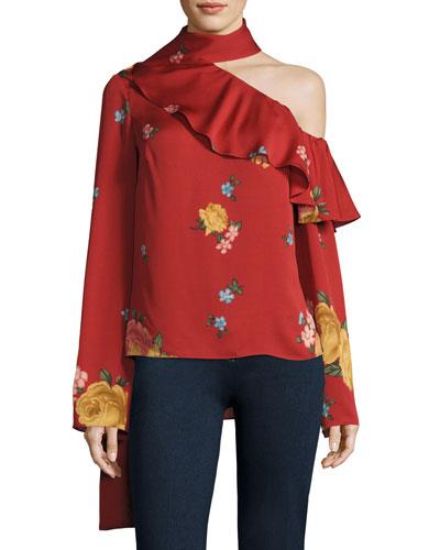 Hanoi Floral Cold-Shoulder Top, Red