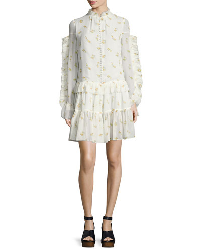 Metz Floral-Print Silk Dress, Cream