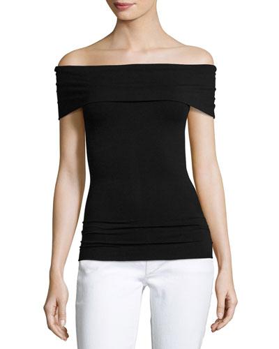 Sabrynna Off-the-Shoulder Tubular Top, Black