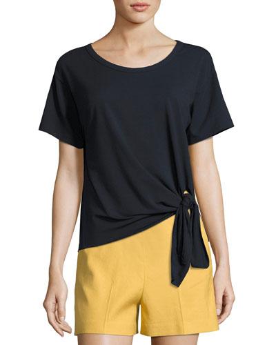 Dorotea T Short-Sleeve Rubric Top, Blue