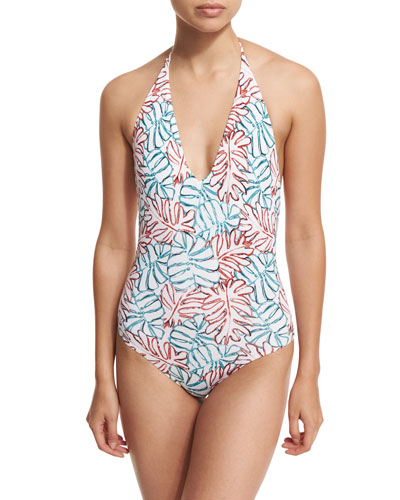 Nina Leaf-Print One-Piece Halter Swimsuit, Blue