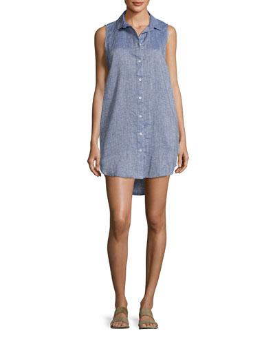 Kaylee Sleeveless Chambray Tunic Dress, Blue