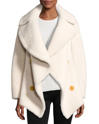 Teddy Shearling Fur Pea Coat, White
