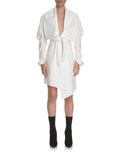 Stretch-Poplin Wrap Shirtdress, White