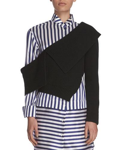 Ribbed Knit One-Shoulder Sweater, Black