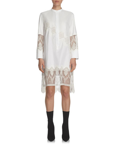 Herringbone Cotton Shirtdress with Lace Inserts, White