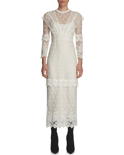 Paneled Lace Long-Sleeve Dress, Off White