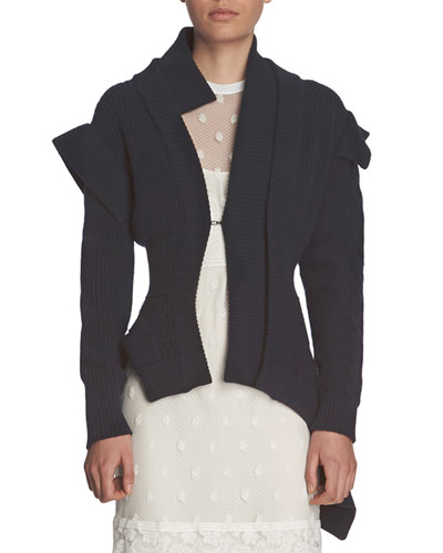 Knit Military-Style Jacket, Navy