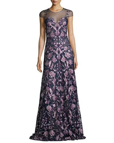 Cap-Sleeve Embroidered Floral Mesh Gown, Navy/Purple