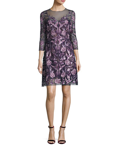 3/4-Sleeve Embroidered Floral Mesh Cocktail Dress, Navy/Purple