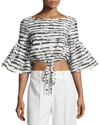 Lydia Floral Striped Burnout Crop Top, Black