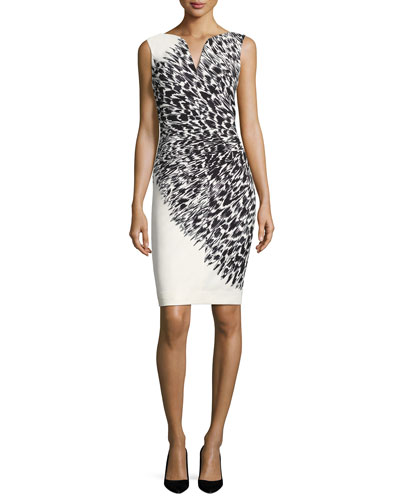 Cady Brushstroke Feather-Print Sheath Dress, Black/White