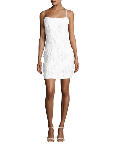 Frayed Jacquard Mini Slip Dress, White
