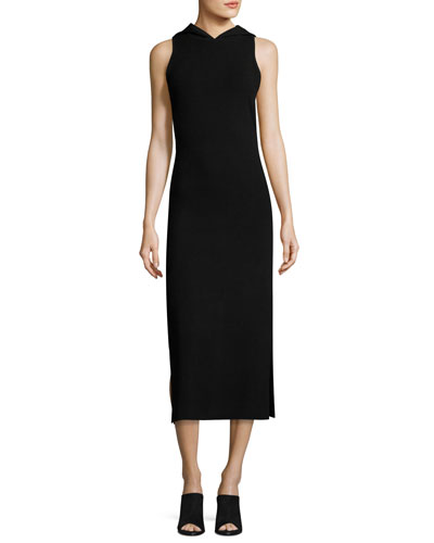 Sleeveless Hooded Midi Sheath Dress