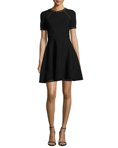 Short-Sleeve Pointelle-Trim Textured Knit Dress, Black