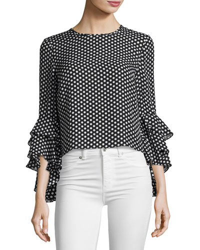 Gabby Dot-Print Silk Georgette Blouse, Black