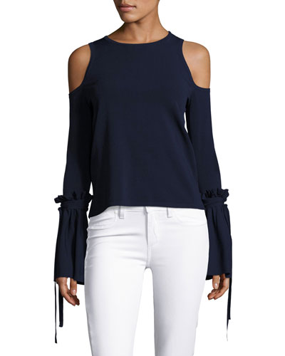 Cold-Shoulder Tie-Sleeve Knit Top, Midnight