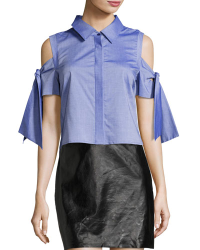 Paris Cold-Shoulder Cropped Shirting Top, Denim