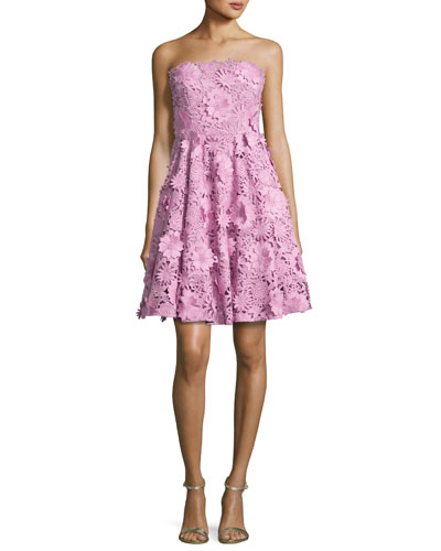Meg Strapless 3D Floral Cocktail Dress, Pink