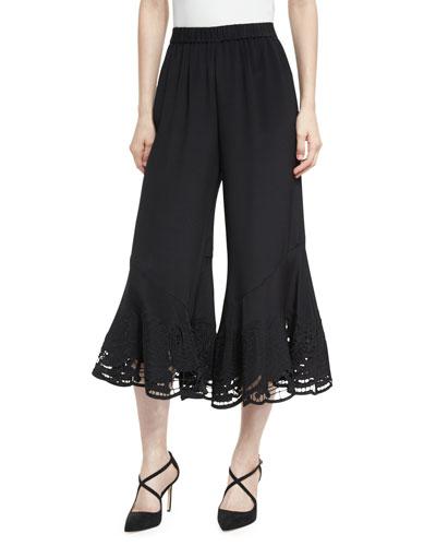 Lainey Silk Lace-Hem Gaucho Pants