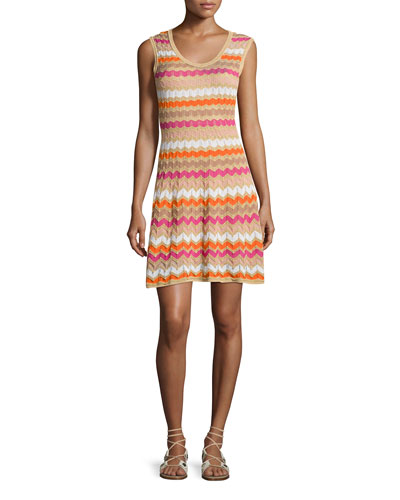 Sleeveless Zigzag Knit Dress