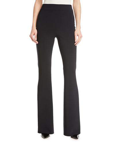 Venus High-Rise Flare Jersey Pants, Black