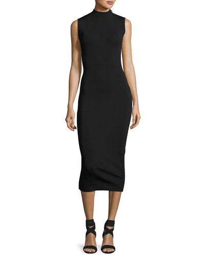 Alexis Sleeveless Open-Back Midi Dress, Black