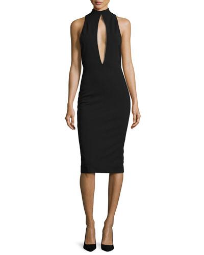 Maret Sleeveless Keyhole Sheath Dress, Black