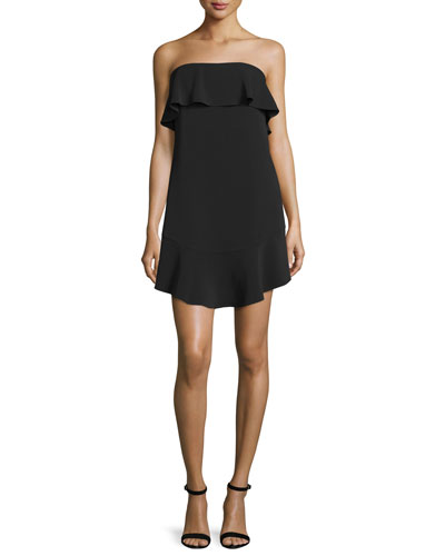 Romy Strapless Ruffle-Trim Mini Jersey Dress, Black