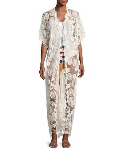 Priscilla Mirage Paisley Lace Kimono, Neutral