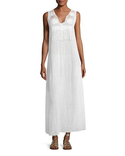 MIGUELINA Becky Cotton Gauze Maxi Dress, White
