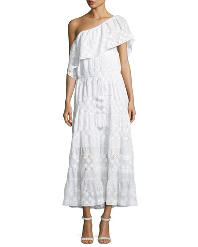 MIGUELINA Madeline Baby Pineapple Netting Dress, White