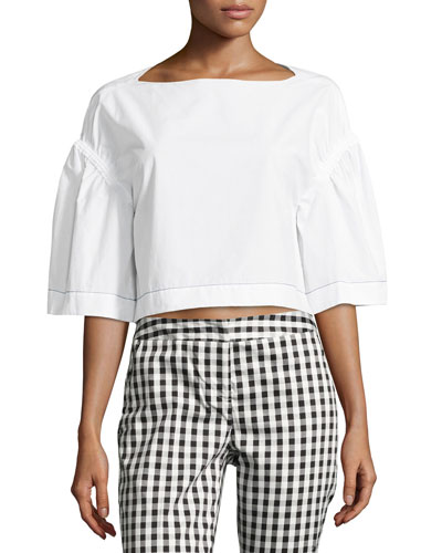Ruched Puff-Sleeve Crop Top