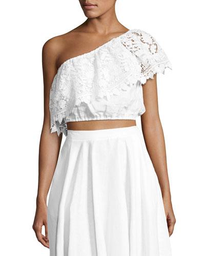 Doris One-Shoulder Linen Crop Top, White