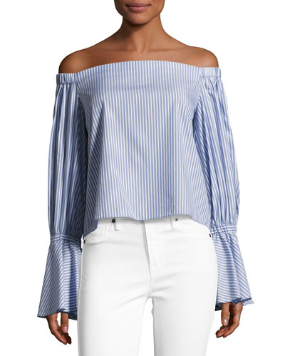 Juniper Striped Off-the-Shoulder Top, Blue/White