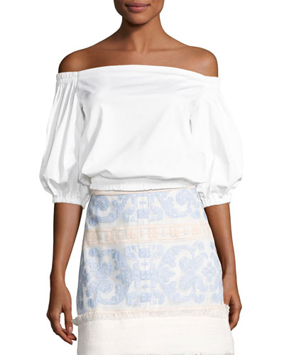 Vitali Off-The-Shoulder Ruffle Top, White