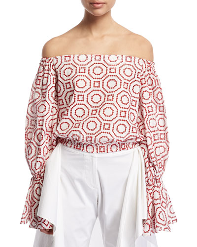 Micael Embroidered Off-The-Shoulder Top, Red/White